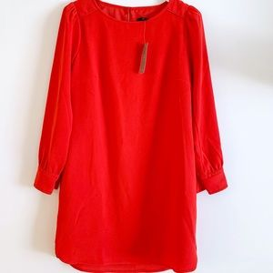 NWT J.CREW Red Dress Round Neck Long Sleeves